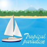 对热带天堂的夏天旅行 航行游艇ona蓝色海和沙子海滩与棕榈树和山 库存例证