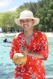 对热带欢迎的海滩 库存照片