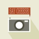 对照相机乳酪说 库存照片