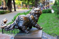 对猫Panteleimon,基辅的纪念碑 库存照片