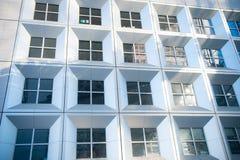 对玻璃钢青色背景的全景和透视广角视图  免版税库存照片