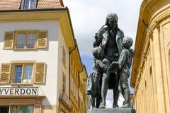 对瑞士教育家, Pestalozzi的纪念碑 库存照片