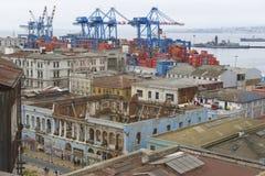 对瓦尔帕莱索市的历史中心的看法,智利 免版税库存照片