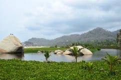对用绿色热带植被和小山的看法盖的盐水湖 图库摄影