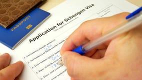 对申根签证的申请与护照,申请和国外的允许 股票录像