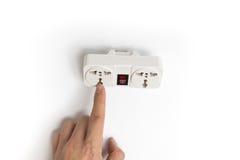 对电源插头插口的指点 库存图片
