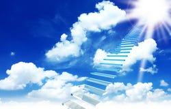 对的蓝色多云处理的天空 免版税库存图片
