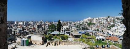 对的黎波里市,黎巴嫩的空中全景视图 库存照片