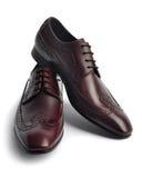 对皮革人的鞋子 库存照片