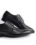 对皮革人的鞋子 免版税库存图片