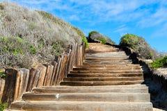 对看见海滩的老木楼梯 库存照片