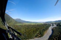 对福克斯冰川,新西兰的直升机乘驾 库存图片