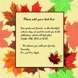 对秋天和秋天假日题材的邀请在富有的co 免版税图库摄影