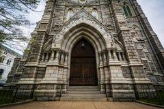 对科珀斯克里斯蒂教会的入口,在巴尔的摩,马里兰 免版税库存图片