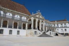 对科英布拉大学的入口,葡萄牙 库存照片