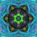 对称多色在瓦片彩色玻璃样式的分数维花卉坛场 库存例证