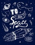 对空间行情传染媒介动画片字法海报有科学宇宙元素星系背景,印刷品的 库存照片