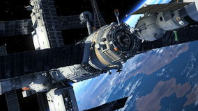 对空间站的航天器对接 皇族释放例证
