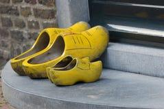 对穿上鞋子二木 免版税库存照片