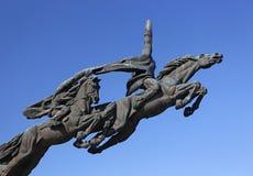对第一支骑兵军队的战士的纪念碑,乌克兰,利沃夫州地区 免版税库存照片