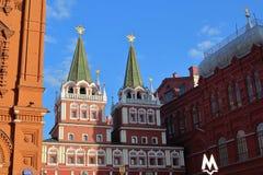 对红场莫斯科的复活门 库存照片