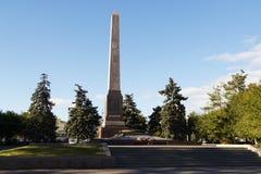 对红色Tsaritsyno无产阶级的方尖碑对战斗机的fre的 库存图片