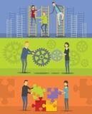 对组织工作横幅水平的集合,平的样式 库存图片