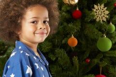 对结构树年轻人的男孩圣诞节下个身&# 图库摄影