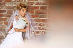 对美丽的砖新娘纵向墙壁 库存图片