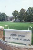 对美国海岸警卫队学院的入口,新的伦敦,康涅狄格 图库摄影