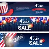 对美国美国独立日假日7月4日折扣横幅集合的购物销售 免版税图库摄影