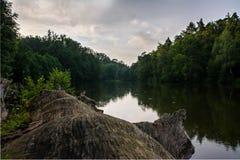 对美好的反射性水风景的木纹理在Bärensee,斯图加特 免版税库存图片