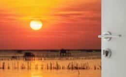 对美好的海景的被打开的白色门在日落 免版税库存照片