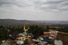 对老哈勒尔市jugol埃塞俄比亚的亦称空中全景视图 免版税库存照片
