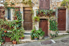 对老法国房子的入口 免版税库存照片