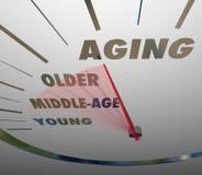 对老老化车速表快速的推进的年龄年轻人 免版税库存图片