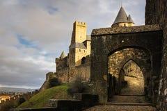 对老被围住的城堡的入口 卡尔卡松 法国 图库摄影