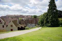 对老镇的看法在奥尔胡斯丹麦 免版税库存照片
