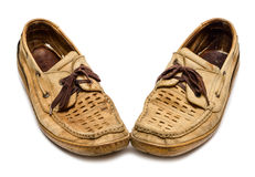 对老鹿皮鞋 免版税库存照片