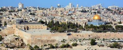 对耶路撒冷老市的全景 免版税库存图片