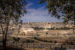 对耶路撒冷老市-耶路撒冷,以色列的全景 库存图片