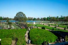 对肯辛顿庭院、圆的水池和女王维多利亚雕象从肯辛顿宫殿窗口,伦敦的一个看法 免版税库存照片