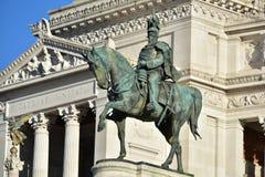对胜者伊曼纽尔的纪念碑II,祖国的牵牛星,对胜者伊曼纽尔的骑马雕象II,罗马意大利 免版税库存图片