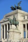 对胜者伊曼纽尔的纪念碑II,祖国的牵牛星,对胜者伊曼纽尔的骑马雕象II,罗马意大利 库存图片