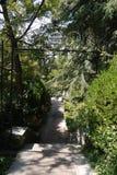 对胡同的入口通过泵房的公园有有机体的健康的矿泉水的 图库摄影