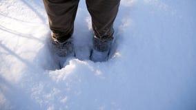 对膝盖的雪 在雪的脚 免版税图库摄影