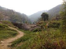 对自然小山的一个方式 免版税库存照片