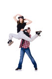 对舞蹈家跳舞 免版税图库摄影