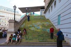 对艺术的学院的台阶在维也纳 免版税库存照片
