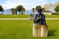 对艾拉・费兹洁拉的古铜色雕象在蒙特勒,瑞士。 免版税库存照片